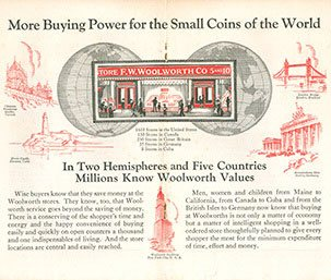 The centrefold from the 50th birthday booklet, celebrates the buying power that Woolworths gave to the small coins of the world.