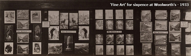 The selection of 'fine art' small pictures for sixpence from F. W. Woolworth's British stores, pictured in 1933