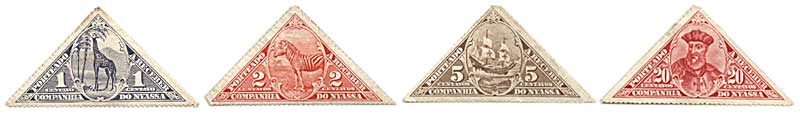 Issued in 1916, a quirk of fate meant that these triangular stamps issued by the Royal Nyassa Company in the colony of Portuguese East Africa (Mozambique) featured regularly in Woolworth assortment packs in the period after World War II