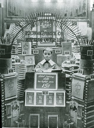An unusual display of back to school items at a Woolworth store in Pine Bluff, Arkansas, USA in about 1930