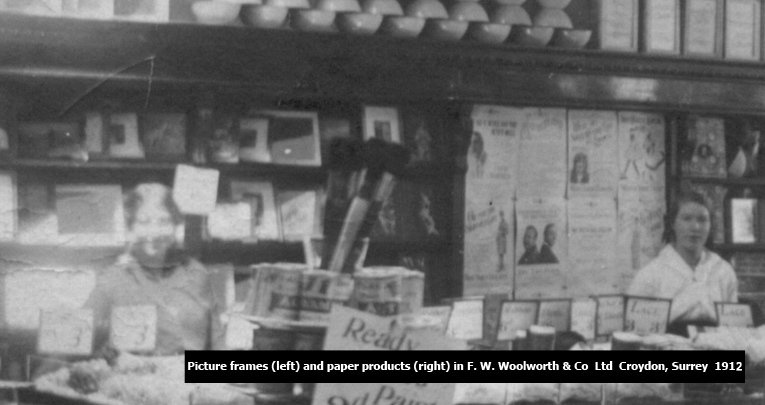A portion of the salesfloor at Woolworths Croydon, to the South of London, England in 1912, showing the range of picture frames and paper products