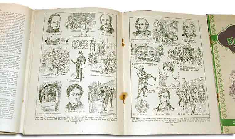 A double page of illustrations in a Woolworths 'illustrated history', produced for the company by Thomas Hope Sankey Hudson Ltd of Manchester