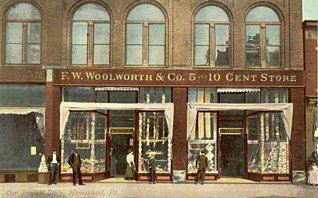 A colour postcard of the F. W. Woolworth 5 and 10 cent store in Homestead, Pennsylvania, which opened in 1904