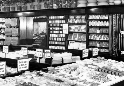 The stationery display in Woolworth UK's flagship Liverpool store in 1923. The same pattern was repeated nationally