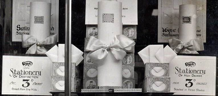 Envelopes and writing paper direct from the mills for threepence a pack in Woolworth's window in around 1930