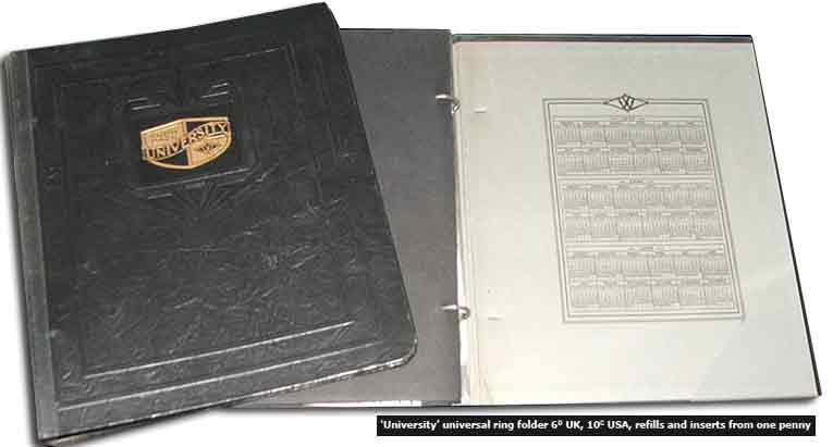 F. W. Woolworth's 'University' branded ring binders became worldwide best sellers between 1909 and 1939.  Loose leaf inserts, which were sold separately, made them highly adaptable, while leather-look bindings gave them a touch of class for just a few pence
