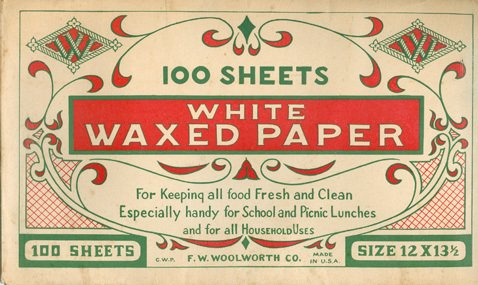 Greaseproof paper packs and rolls were one of many practical stationery items in the early Woolworths range