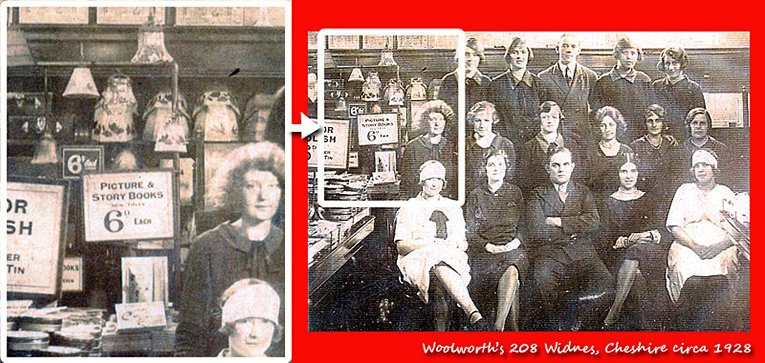 Story and picture books on sale in the F.W. Woolworth store in Widnes, Cheshire in around 1928.  The picture, which was contributed by members of the Widnes team, shows the full staff of the store at that time