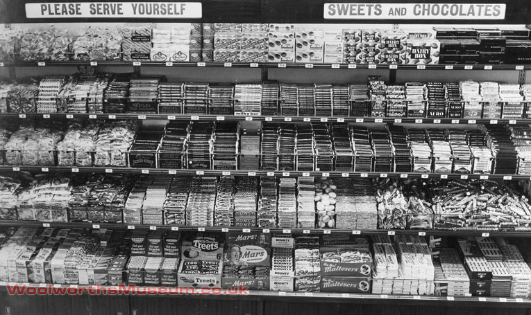 One of the first self-service displays at Woolworth's - confectionery at the Didcot store in 1956