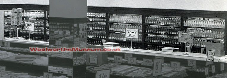 Extended displays of cold drinks and ice cream cones in the Portsmouth Woolworth store in 1949