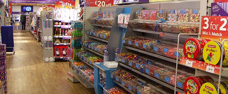 A new look pic'n'mix department in a small Woolworths store - Kingswood, Bristol, pictured in 2004