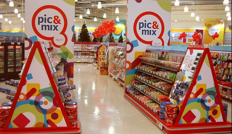 Dig in - a shortlived new creative treatment for Woolworths' traditional pic'n'mix sweets range at the out of town store in Tamworth, Staffordshire in 2004
