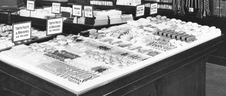Toiletries and cosmetics were a mainstay of the Woolworth range for more than 75 years until the parent company bought Superdrug in March 1987. This display was photographed in Church Street, Liverpool in October 1923.