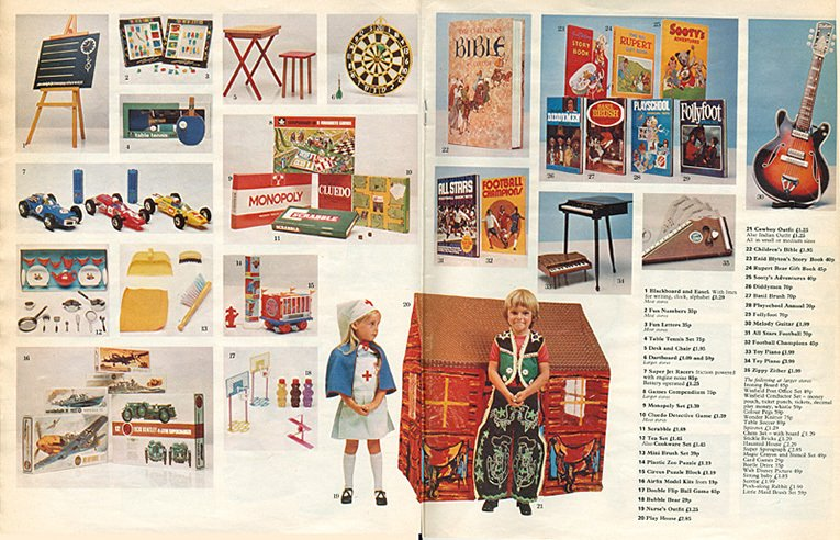 The second of two double-page spreads of Toys in Woolworth's first Christmas Catalogue, which was stapled into the centre of The Radio Times in November 1973