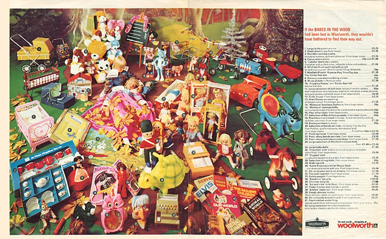 The second of two double-page spreads of Toys in the 1975 Woolworth Christmas Catalogue