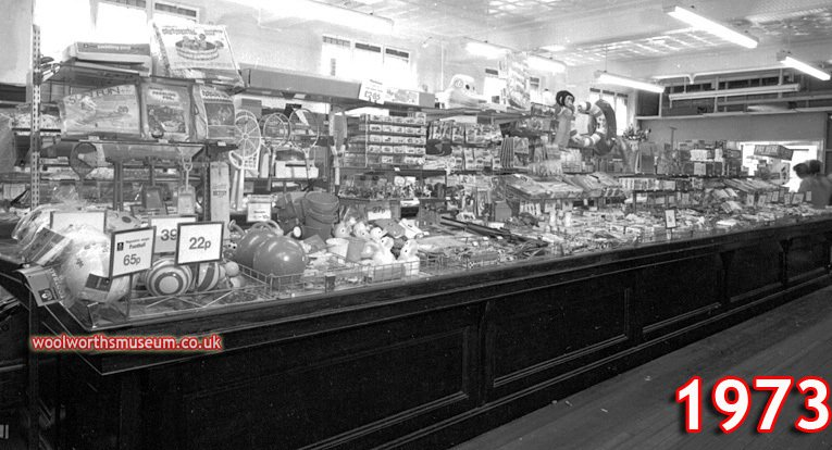 By the early 1970s many smaller Woolworth stores were starting to look quaint and old-fashioned. The picture shows the store at Atherstone, Warwickshire in 1973. While the merchandise had changed, the look and feel of the store had remained frozen in time for the thirty years since World War II. The branch was finally modernised and converted to self-service shortly after this picture was taken.