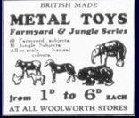 Brightly painted toy animala, made from lead, were made by Britain's - who were more famous for their model soldiers