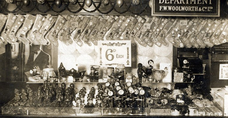 The range of Christmas gifts from 1930 includes Christmas Stockings and lots of model policemen, marking the popularity of the song 'The Laughing Policeman' by Charles Penrose which the firm was selling on a 78rpm record