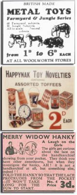 Simple toys at rock bottom prices - the hallmark of Woolworths in the early days
