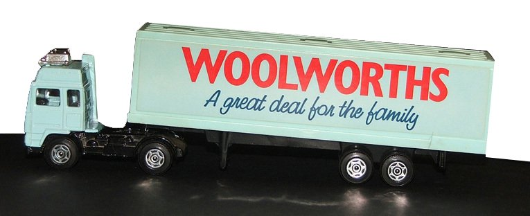A Woolworths 'Great Deal for the family' lorry from the Corgi Superhaulers assortment of 1987