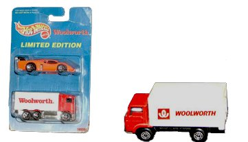A Matchbox Woolworth Lorry, carrying the 'Winfield' shopping basket trademark and the italic logo from the 1970s, and a very similar American wagon in a 1990s Mattel Hot Wheels Blister Pack