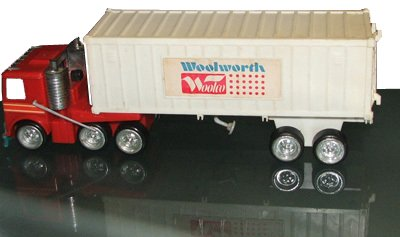 A plastic Woolworth and Woolco lorry as sold in the chain's US stores in around 1980