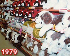 Bold displays of soft toys - many of them made in Wales by Lefray Toys - in the flagship Woolworth store in London's Oxford Street in 1979