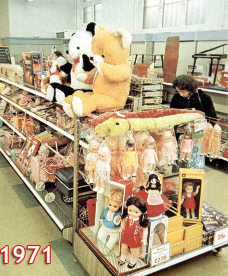 The toy department in a new look small Woolworth store after 'crash-conversion' to self-service as part of the chain's response to the decimalisation of the British currency in 1971