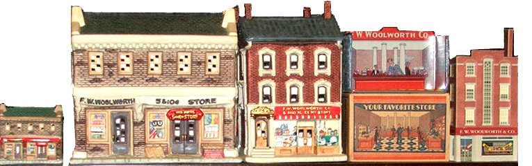 A High Street of miniature Woolworths stores - some were mementoes sold at Christmas, others were year-round toys, particularly for train layouts.