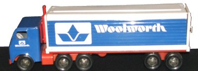 The new 1970s livery of the US Woolworth soon featured on model lorries that were sold from the chain's toy department