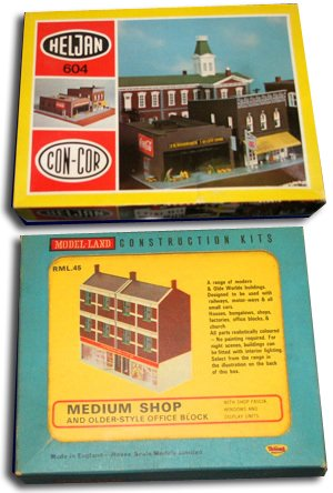 The Heljan N Gauge Model of an F. W. Woolworth Five and Ten Cent Store, Con-Cor Model No. 604 and the British equivalent, Triang Model-lands RML45, a medium-size shop with an F. W. Woolworth fascia