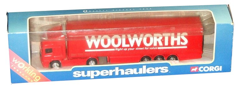 A diecast Woolworths lorry from Corgi's Superhaulers Range, dating from around 1995.