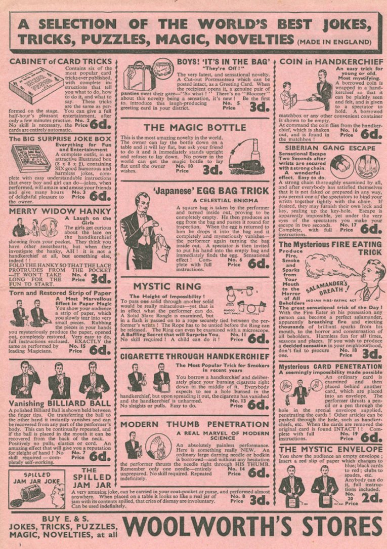 The first of four pages from a magic tricks leaflet from the late 1920s