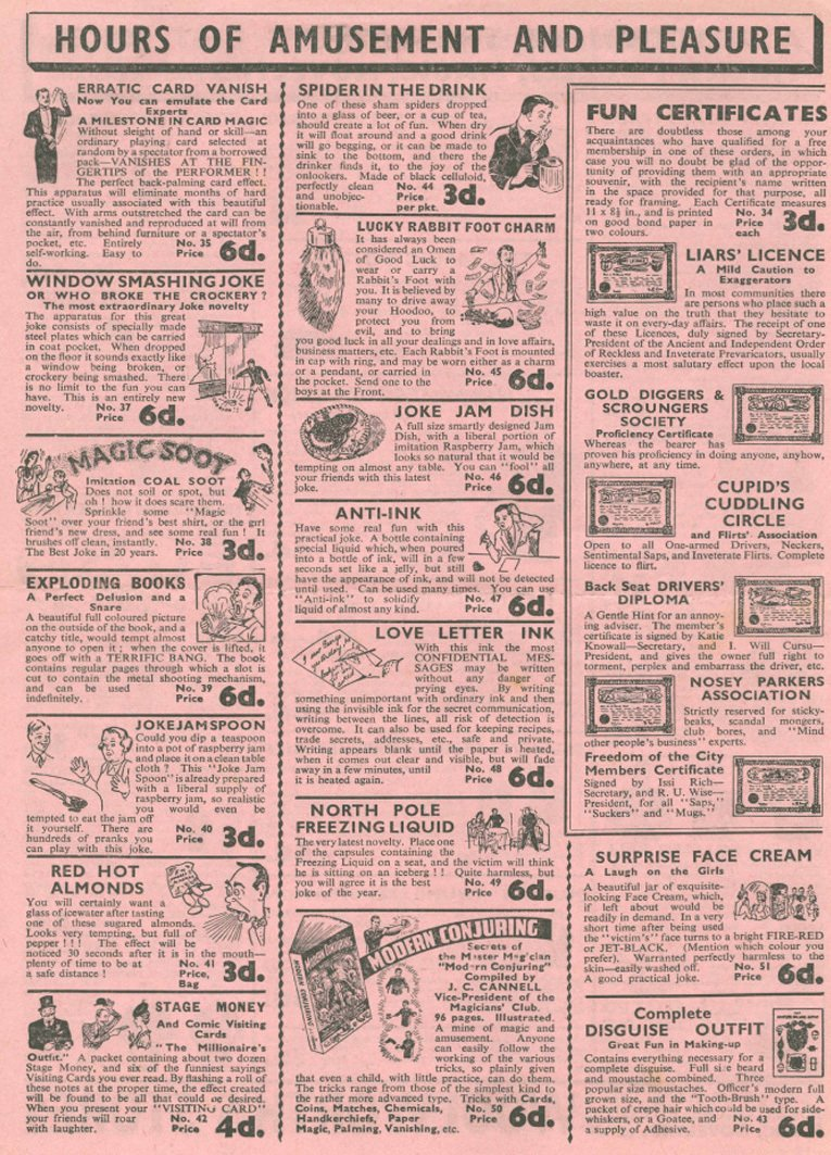 The second of four pages from a 1920s leaflet promoting the range of magic tricks available from British Woolworth stores for sixpence or less in the late 1920s