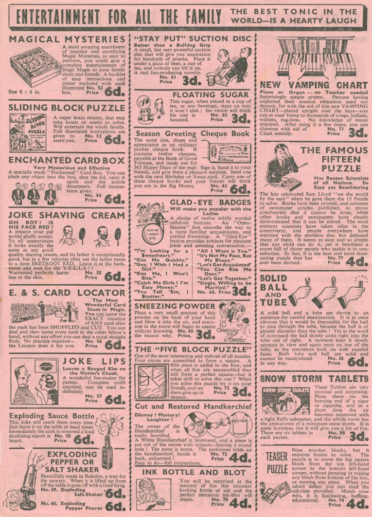 The third of four pages from a 1920s leaflet promoting the extensive range of magic tricks and practical jokes that were available for sixpence (2.5p, or roughly 10 cents) from a Woolworth store