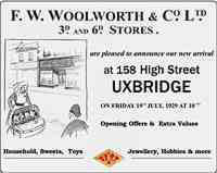 Opening advertisement for the High Street, Uxbridge, Woolworth store (No. 370) in 1929