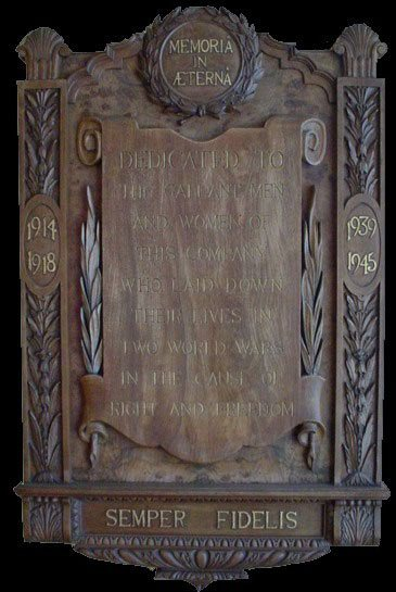 Memoria in Aeterna.  The Woolworth War Memorial was carved in oak and inlaid with gold.  It does not include the names of the fallen.  We are proud to honour all those whose names we know.  Rest in peace.