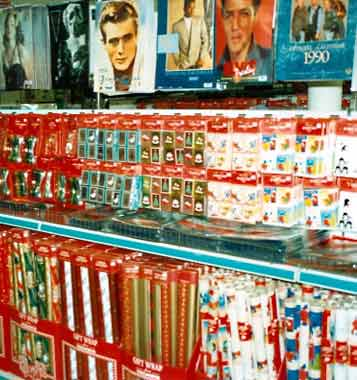 Wrapping paper, gift tags and calendars on sale in the Woolworths Store in Market Place, Kingston-upon-Thames, South West London in 1989. (Image with special thanks to Mr. Andy Hayzelden)