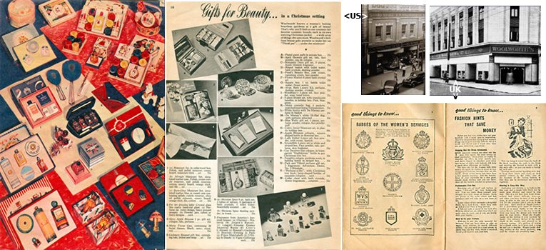 Example spreads from the American and British Woolworth catalogues for 1939. The contrast could not be more extreme.  Inset store photos - York, Pennsylvania, USA and Hammersmith, London, England