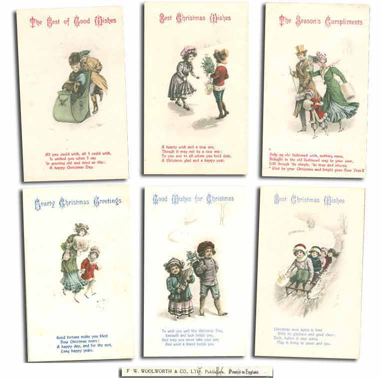 The original series of postcard type Christmas Cards, which were sold in F. W. Woolworth British stores from 1909 until 1918