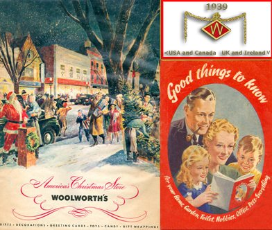 War and peace in stark contrast in Woolworths' two 1939 Christmas catalogues from opposite sides of the Atlantic - on the left the first full colour product catalogue from North America, on the right the British Good Things To Know magazine concentrated on make do and mend, military insignia and the blackout