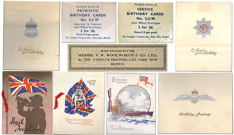 Designed to boost morale during the darkest hour, some of the patriotic and service greeting cards sold by Woolworth's during World War II