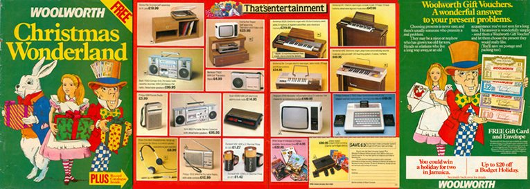 The British F. W. Woolworth catalogue for Christmas 1982, prepared as the chain moved out of American control. Many of the higher priced items in the catalogue were substantially more expensive even excluding the effect of inflation than they were twenty five years later