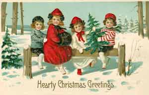 An early colour Christmas card sold in Woolworth stores in the USA. It was printed in London.
