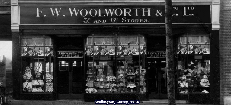 Woolworth's Christmas windows pictured at the retailer's branch in Woodcote Road, Wallington, Surrey, UK in 1934