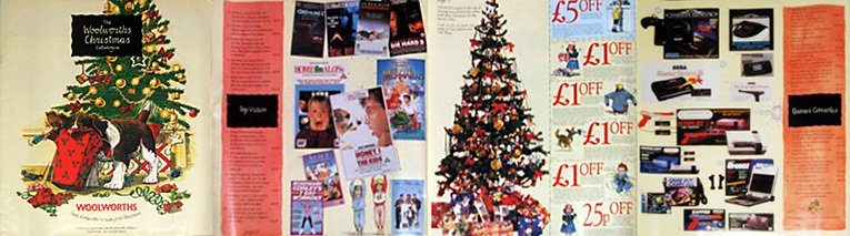 By 1991 the Woolworths Christmas Catalogue was aspirational and included lots of stylish features alongisde lots of toys, clothes, sweets and videos. Computer game consoles featured strongly on the back cover.