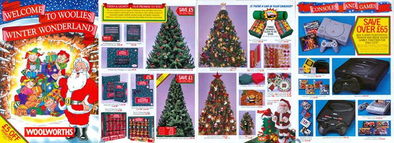 A price promise and text noting major reductions over the previous year's prices featured in the Woolworths Christmas Catalogue for 1996  as the company faced up to the growing threat from discount retailers.