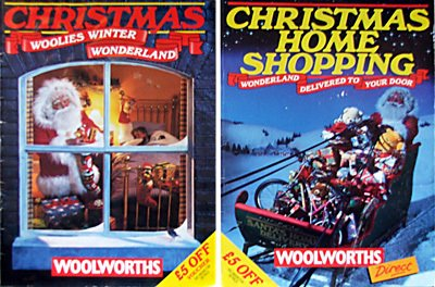 The two Woolworths Christmas Catalogues in 1998, one a conventional 48 listing of products available in-store and the other a 132 page extended offer of items that could be ordered by mail as part of the new Woolworths Direct offer.