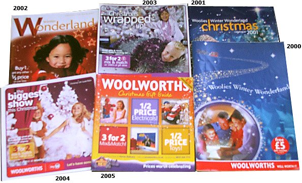 Woolworths Christmas Catalogues for the 21st Century - showing how the format got smaller in the first half of the decade before getting very big and very red (or was that unread?) from 2006 onwards